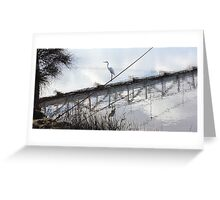Bird on the Wire - Egret at Erskine River Greeting Card