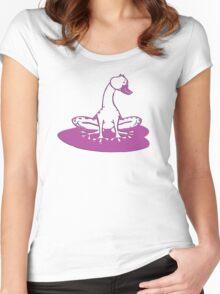 duckfrog - frog, duck, funny, cartoon, cute, humor Women's Fitted Scoop T-Shirt