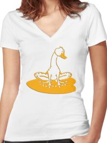 duckfrog - frog, duck, funny, cartoon, cute, humor Women's Fitted V-Neck T-Shirt