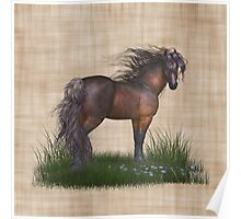 Horse in the Wild, tote, throw and tablet Poster