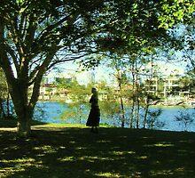 Evening, Nerang river Gold Coast City Art Gallery Park  walk. by Virginia McGowan