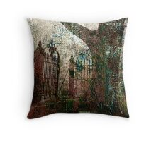 tree and gate Throw Pillow