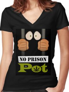 No prison for pot! Women's Fitted V-Neck T-Shirt
