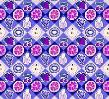 Purple Fruit Diamond Pattern by SaradaBoru