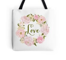 Watercolour Blush Peonies Wreath - Love Tote Bag