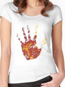 hand print design  Women's Fitted Scoop T-Shirt
