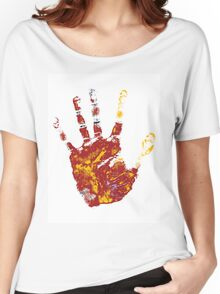 hand print design  Women's Relaxed Fit T-Shirt
