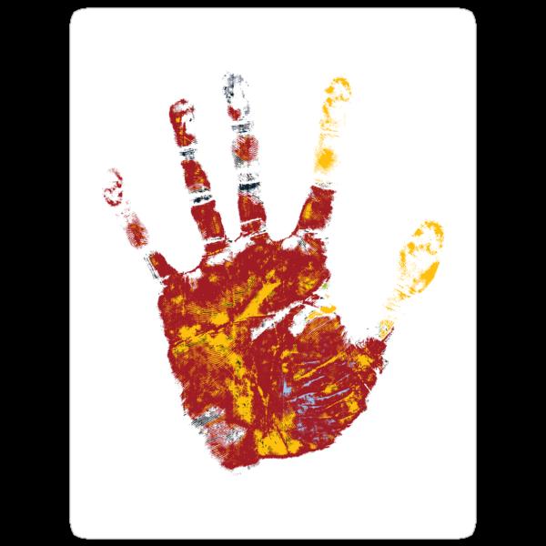 hand print design  by Richard Laschon
