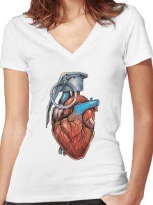 Heart Grenade Women's Fitted V-Neck T-Shirt
