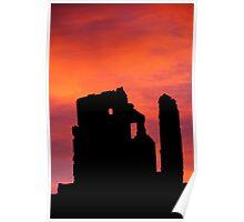 Silhouette, Corfe Castle, Dorset, England Poster