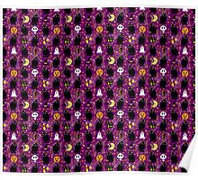 Cute Purple Halloween Pattern Poster