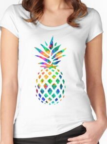 Rainbow Pineapple Women's Fitted Scoop T-Shirt
