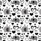 Hearts and Elephants Black and White Pattern by SaradaBoru