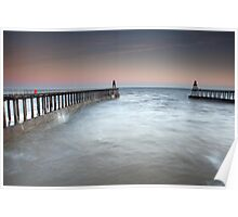 Whitby Piers at Sunrise Poster