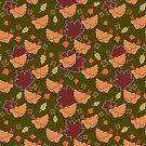 Cute Brown Fall Chicken Pattern by SaradaBoru