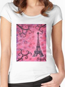 Eiffel Tower in Pink Women's Fitted Scoop T-Shirt
