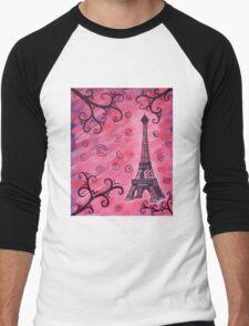 Eiffel Tower in Pink Men's Baseball ¾ T-Shirt