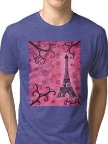 Eiffel Tower in Pink Tri-blend T-Shirt