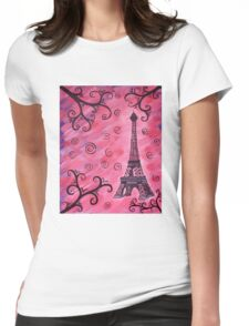 Eiffel Tower in Pink Womens Fitted T-Shirt