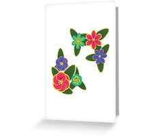 Colorful Tropical Flowers Greeting Card