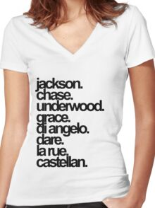 Percy Jackson And the Olympians characters Women's Fitted V-Neck T-Shirt