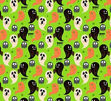 Cute Halloween Ghosts Green Pattern by SaradaBoru