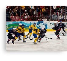 Olympic Hockey: Team Sweden vs Team USA Canvas Print