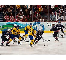 Olympic Hockey: Team Sweden vs Team USA Photographic Print