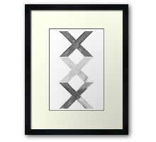 Abstract Grey Watercolor X Signs Framed Print