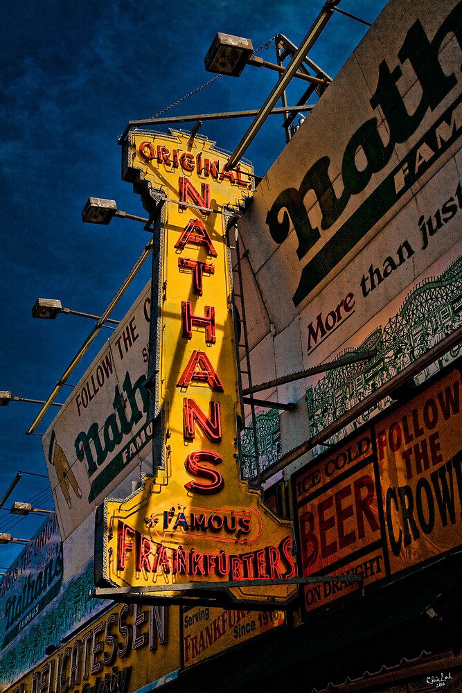 The Well Known Neon Sign at the Original Nathan's Famous Frankfurters by Chris Lord