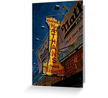 The Well Known Neon Sign at the Original Nathan's Famous Frankfurters Greeting Card