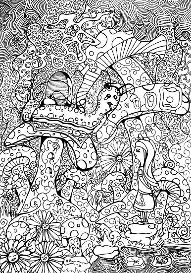 Alice And The Hookah Smoking Catterpillar by Octavio Velazquez