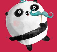 Cute Panda with Mustaches by colonelle