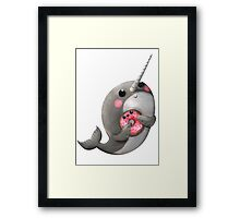 Cute Narwhal with donut Framed Print