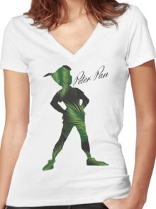 Tropical Peter Pan  Women's Fitted V-Neck T-Shirt