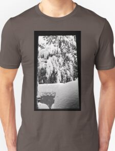 snow falling through window Unisex T-Shirt