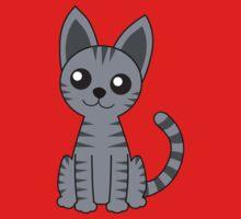Gray Stripey Cat One Piece - Short Sleeve
