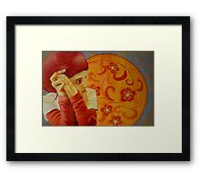 Vermillion, watercolor and mixed media on paper Framed Print