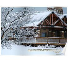 Snow scene with cabin Poster