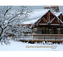 Snow scene with cabin Photographic Print