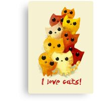 I love cute cats! Canvas Print