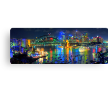 City Of Light - Sydney Harbour Fantasy (25 Exposure HDR Pano)- The HDR Experience Canvas Print
