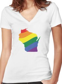 Wisconsin Pride Women's Fitted V-Neck T-Shirt
