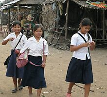 School girls - Tonle Sap by Trishy