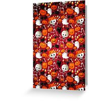 Halloween - Skeletons, cats and pumpkins Greeting Card