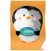 Cute Penguin and Dead Fish Poster