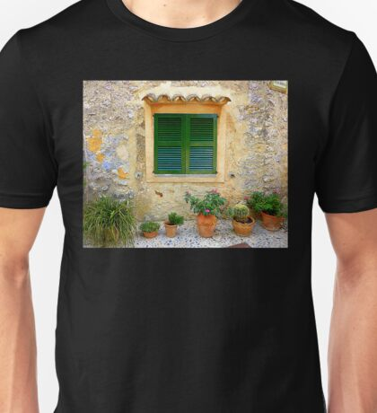 The Green Shutter With Pots...............................Majorca Unisex T-Shirt