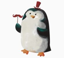 Fancy Penguin with Mustaches on the stick Kids Clothes