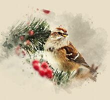 American Tree Sparrow Watercolor Art by Christina Rollo