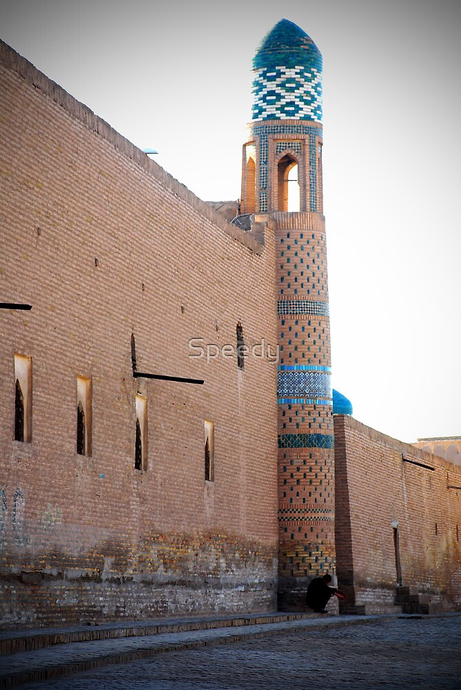Khiva old city wall and minaret by Speedy